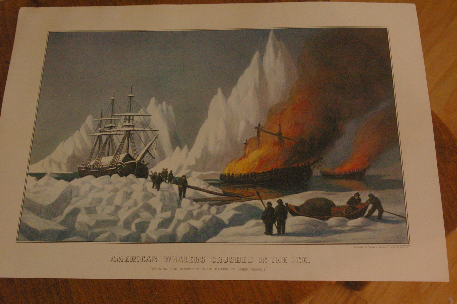 "Whalers Crushed In The Ice Currier & Ives 11"" X 16"" Calendar Print March 1960"