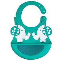Creative Elephant Cartoon Button Silicone Baby Bibs Pocket Meals