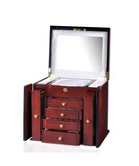 Diplomat Jewelry Chest Teak Wood w Cream Suede Interior w/ 4 Drawers Ite... - $395.99