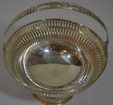 Vintage India Silverplate Footed Round Bowl Handle - $49.49