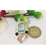 Beautiful jewelry silvertone Black Oynx & Pink,Blue Topaz Quartz pendant - $17.00