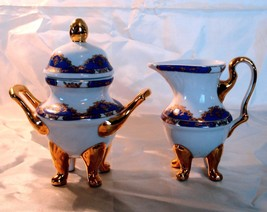 Laurel Shield White Sugar Bowl and Creamer with Blue and Gold Trim - $3.95