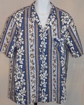 Royal Creations Blue White Hibiscus Flowers  Hawaiian Button Front Shirt... - $34.65