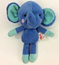 """Fisher Price Elephant  Snugamonkey Blue Green 95778 Plush Stuffed Animal 7"""" - $17.41"""