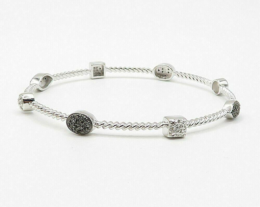 925 Silver - .50ctw Genuine Black & White Diamonds Bangle Bracelet - B2659 image 3