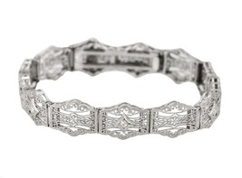 1930's Ladies Antique Art Deco 14K White Gold 0.09ctw Diamond Filigree B... - $589.98