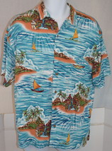 Men's Big Dogs Button Front Casual Blue Shirt Palm Trees Boat Hawaii Siz... - $34.64