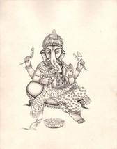 Ganesha Painting Handmade Indian Hindu God Ganesh Ethnic Religion Ink Sk... - $49.99