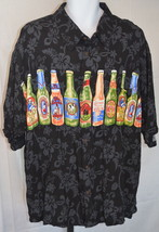 Big Dogs Black Beer Button Front Short Sleeve Shirt Size 2XL - $49.49