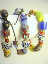 African Trade Bead Bracelets with Krobo Beads and Baule Metal Beadson Ad... - $25.00