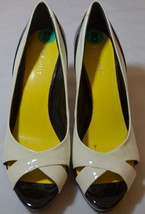 Nine West Black White Open Toe Heels Shoes Size 8M - $39.59
