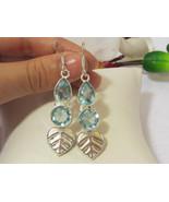 Beautiful jewelry silvertone Blue Topaz Quartz dangle earrings - $15.00