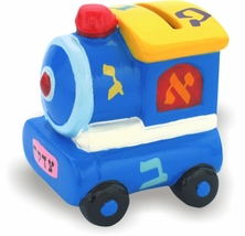 Tzedakah Box Tzdakah Charity Ceramic Train Multi Color Children Judaica