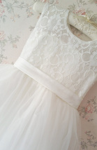 WHITE Lace Tutu Flower Girl's Dress White Knee Length Birthday Party Dresses NWT image 5