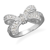 Silver Ring With CZ Bow - $59.99