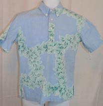 Men's Hilo Hattie Floral Blue Button Front Hawaiian Shirt Size sz S small - $24.75