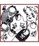 Vintage Pattern for 3 Baby Bibs + Applique & Embroidery - $4.99