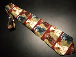 Ralph Marlin RM Style Neck Tie Labradors Black Golden Chocolate Imported Silk - $11.99
