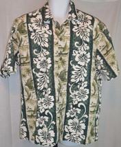 Men's Hilo Hattie Button Front Floral Hawaiian Green Shirt Size XL - $34.65