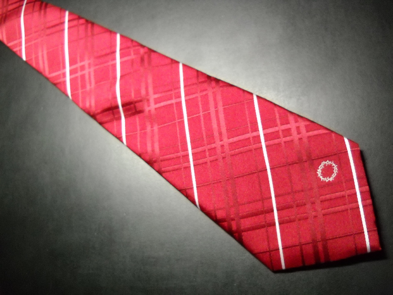 Eagles Wings Dress Neck Tie Reds White Diagonal Stripes Discrete Crown of Thorns