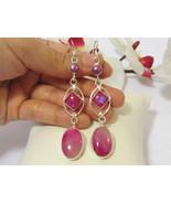 Beautiful jewelry silvertone Pink Moonstone,Pearl & Pink Botswana dangle... - $24.00