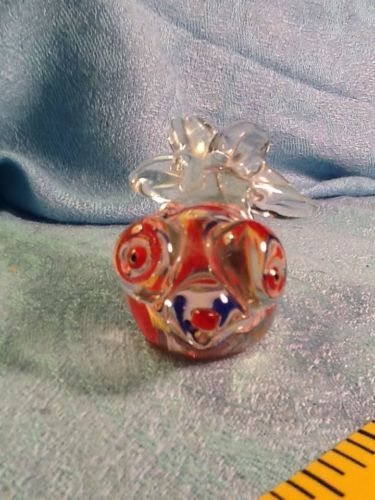 "Vintage Glass Art Millefoiri Fish Red Blue Yellow Too Cute 3"" Hand Blown"
