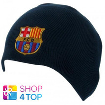 FC BARCELONA FOOTBALL SOCCER CLUB TEAM NAVY KNITTED BEANIE HAT WINTER CA... - $12.59