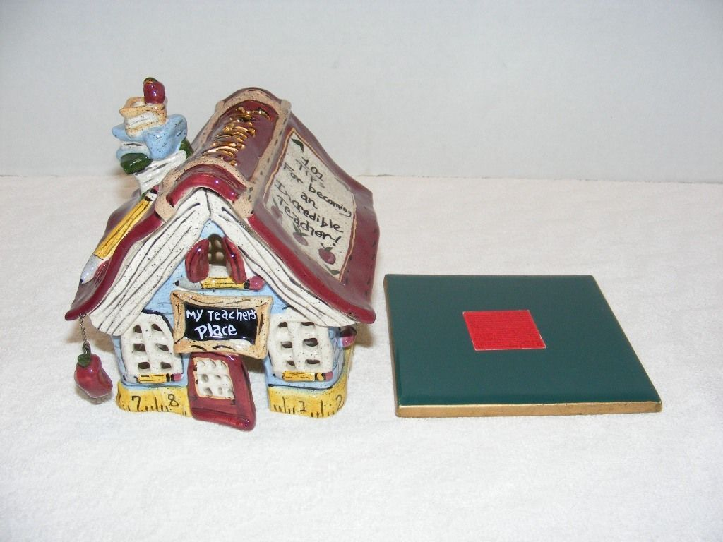 "Primary image for 2003 BLUE SKY CLAYWORKS "" MY TEACHER'S PLACE"" CERAMIC SCHOOL HOUSE RETIRED GUC"