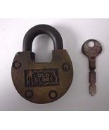Vintage Old Glory Brass Padlock Lock with Key Steampunk Recyled Art - $58.75