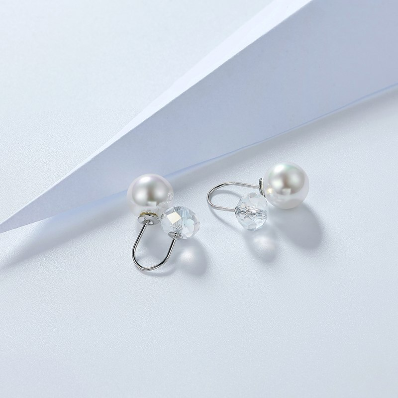 Wedding Earrings Romantic White Gold Simulated Pearl Engagement