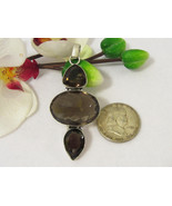 Huge 90 Ct Smoky Quartz Silvertone Jewelry Pendant - $35.00