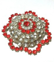 LARGE VINTAGE LAYERED CLEAR & ORANGE RHINESTONE BROOCH PIN - $75.00
