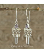 Hook EARRINGS Sterling SILVER, Genuine Amethyst & Rock Crystal 5.05 g ~ ... - $46.08