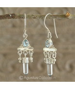 Hook EARRINGS Sterling SILVER, Genuine Blue Topaz & Rock Crystal 5.12 g ... - $46.08