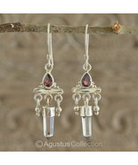 Hook EARRINGS Sterling SILVER, Genuine Red Garnet & Crystal 5.10 g ~ Han... - $46.08