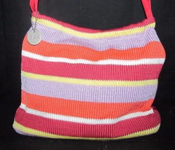 The Sak Original Woven Purse Handbag Pink Purple Orange Stripe Tulip Sna... - $15.51