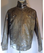 BKE Mens Gray Faux Leather Jacket Size L Large - $69.95