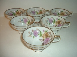 6 Halsey and LM Fine China Autumn Dawn Footed Cups - $18.99