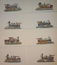 "Vintage 8 Locomotive Prints 1950 Autoprints 5-5/8"" x 8-1/2"" - $9.45"
