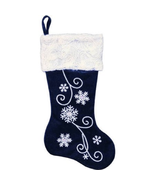"""20"""" Velvet Stocking with Snowflakes, Sequins , Swirled Yarn Cuff. blue - $10.65"""