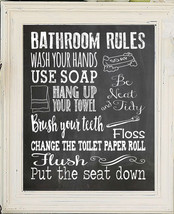 BATHROOM RULES 8x10 Typography Art Print, Choice of 5 Colors - $6.50+