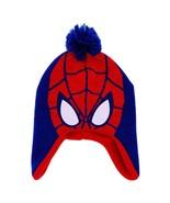 ULTIMATE SPIDER-MAN Fleece-Lined Knit Trapper Winter Hat Beanie w/ Pom-P... - $8.90