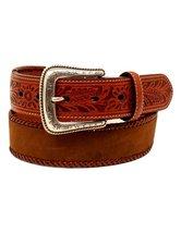 Nocona Western Belt Men Lace Edge Tooled Tabs 36 Medium Brown N2412744 - $39.60