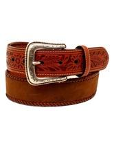 Nocona Western Belt Men Lace Edge Tooled Tabs 42 Medium Brown N2412744 - $39.60