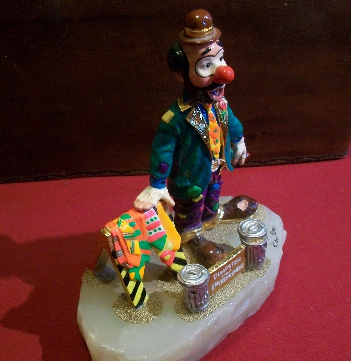 Ron Lee signed Dumpster Selling Ties Clown Sculpture
