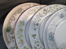 Set of 4 Mismatched China Cake Dessert Plates Blue Green Floral Luncheon... - $23.07
