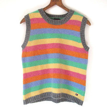 Tommy Hilfiger Wool Sweater Vest  Pastel Striped Womens Large - $24.74