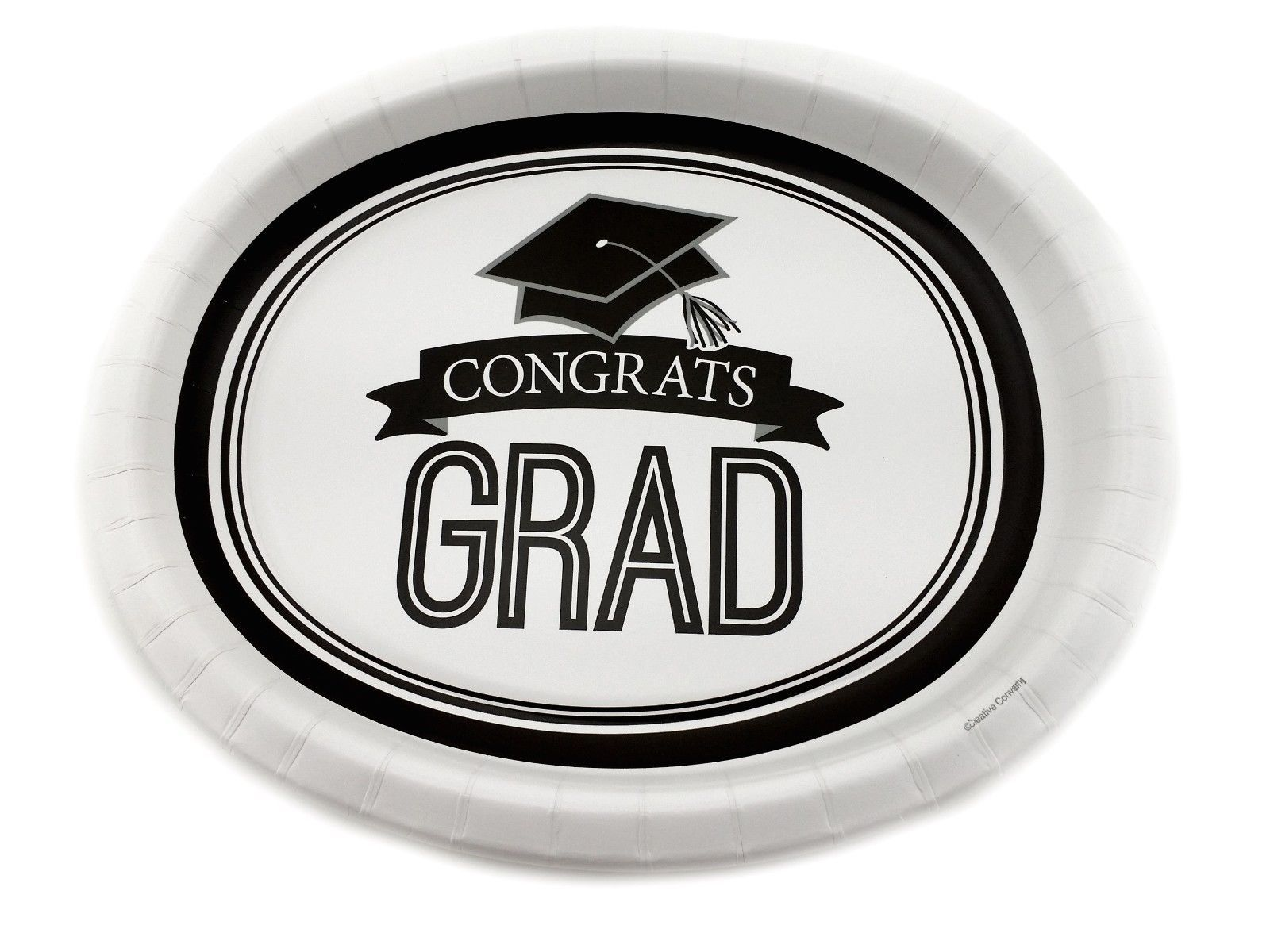 "8 Plates 10""x12"" Oval Paper Dinner Plates Wax Coated - Congrats Grad"