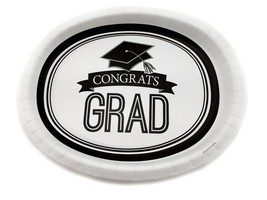 "8 Plates 10""x12"" Oval Paper Dinner Plates Wax Coated - Congrats Grad - $43.71"