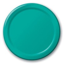 "24 Plates 8.75"" Paper Dinner Lunch Plates Wax Coated - Teal - $4.41"